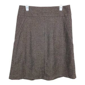 BANANA REPUBLIC Wool Skirt A-Line Brown Lined Zip